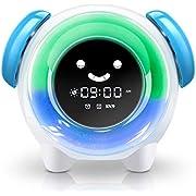 Wecker für Kinder - CYOUH Kinderwecker Wake Up Lichtwecker, Kinder schlafen Trainer mit 7 Farben Ändern Lehren Kids Zeit zum Aufwachen, Nachtlichtuhr mit wiederaufladbarer Batterie, Aufladen USB