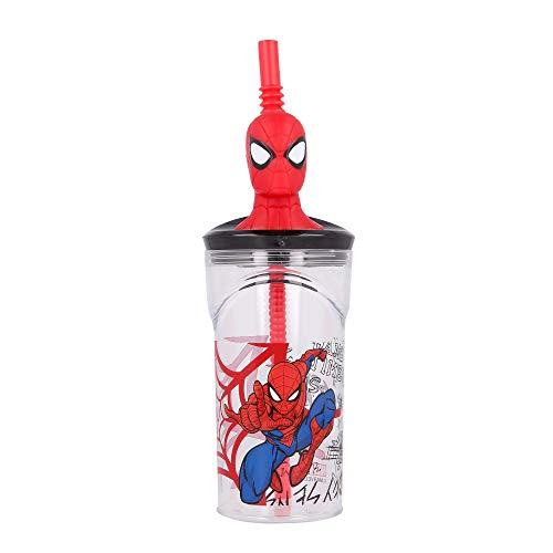 SPIDERMAN   Vaso para niños de plástico con pajita y tapa- diseño infantil con figurita 3D y capacidad de 360 ML - sin BPA