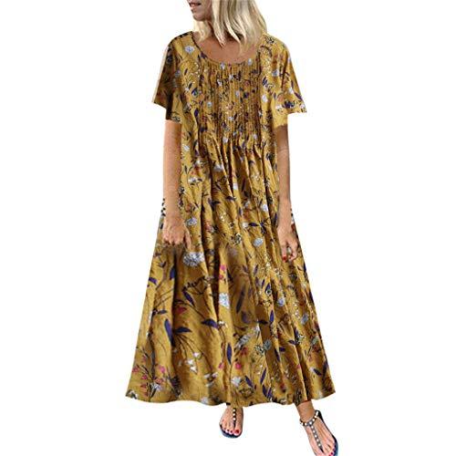 Damen Kleider Sommer O-Ausschnitt Kurzarm Weste Sexy Kleider Damen Strandkleid Plissee Blätter Blumendruck Lose Baumwolle Nähte Kleid Lässig Maxi-Kleid (EU:44, Gelb)