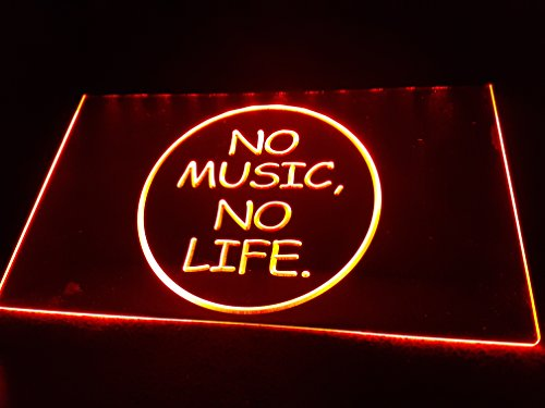 NO MUSIC No LIFE Leuchtschild LED Neu Schild Laden Reklame Neon Neonschild BAR DISCO ON Air TV Radio