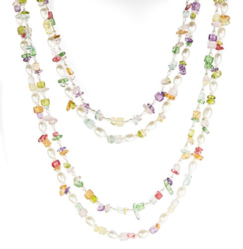HinsonGayle 'Mardi Gras' 2-Strand Freshwater Cultured Pearl & Multi-Color Stone Necklace & Earrings-40 in length