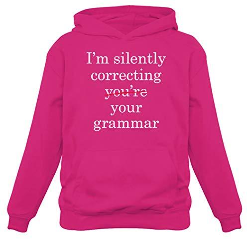 Moletom com capuz feminino I'm Silently Correcting Your Grammar, rosa, XL