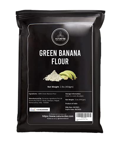 Naturevibe Botanicals Green Banana Flour (1lbs)- Plantain flour   Nutrition Rich   Helps Improve Digestion [Packaging may vary]