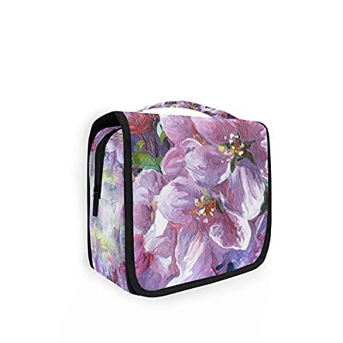 Bolsa de aseo de viaje colgante 23 pintura al óleo púrpura flores kit maquillaje caso cosméticos organizador para hombres mujeres