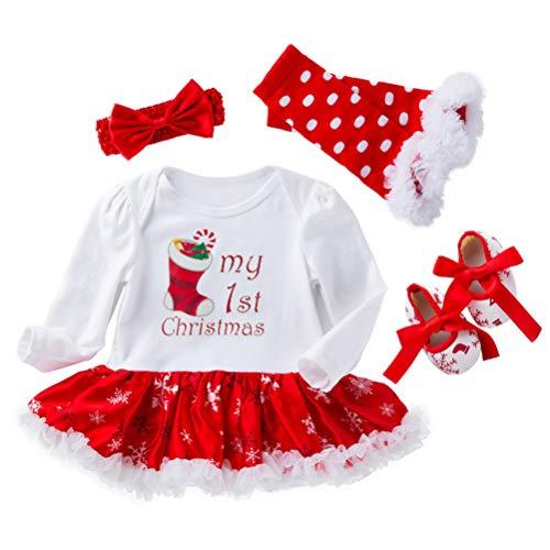 Amosfun Kerst Bodysuit Set Baby Meisjes Kerst Sokken Patroon Tutu Rock Been Warmer Schue Haarband Kerst Kostuum (Rood en Wit)