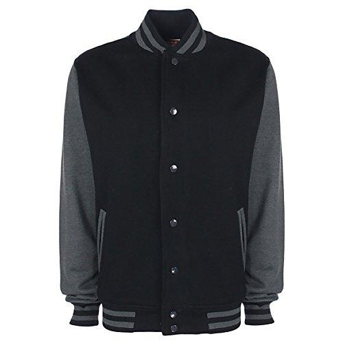 FDM Unisex College-Jacke, kontrastfarbene Ärmel XL,Schwarz/Anthrazit