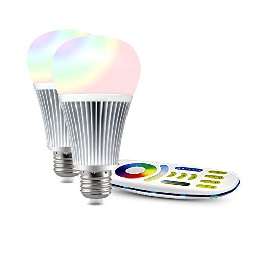 LIGHTEU®, 2x 9W E27 Nuevo diseño Milight WiFi E27 9W 2.4G RF control remoto RGBCCT Bombilla LED con control remoto de 4 zonas