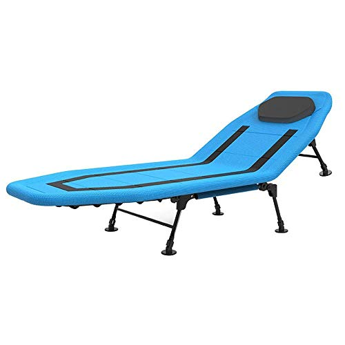 ZGQA-GQA Folding Bed Blue 5-Speed Adjustable Backrest Folding Bed-200 * 80 * 40cm Single Lunch Office Chair Adult Accompanying Bed Visitor Bed (Color : Blue, Size : 200 * 80 * 40cm)