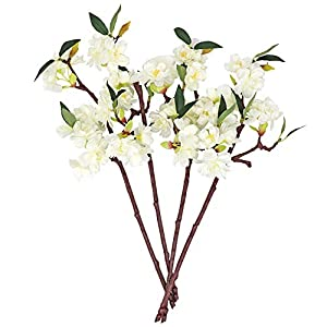 N / A Artificial Cherry Blossom Flowers Faux Silk Cherry Blossom Branches Stem Faux Floral for Home Garden Hotel Parties Wedding Table Arrangements Decor