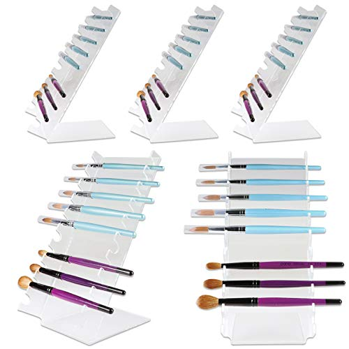 Beauticom (Quantity: 5 Pieces) Waterfall Pen Display Stand 10-Slots Premium Clear Acrylic Holder for Pen, Makeup Brush, E-Cigarette, Vapor, Pencil Display Stand. Premium Quality & Durable