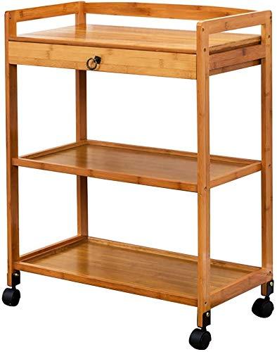Mobile Küchenwagen, Hausbar Karren, rollende Räder für Industrieküche Servierwagen - Holz und Metall,Wood color