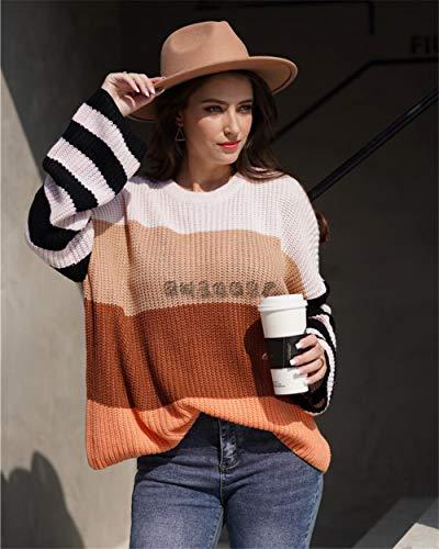 QXPORV gebreide trui voor dames met lange mouwen sweatshirt lente en herfst vrouwen intercolor stiksel pullover pullover temperament pendler lover lover