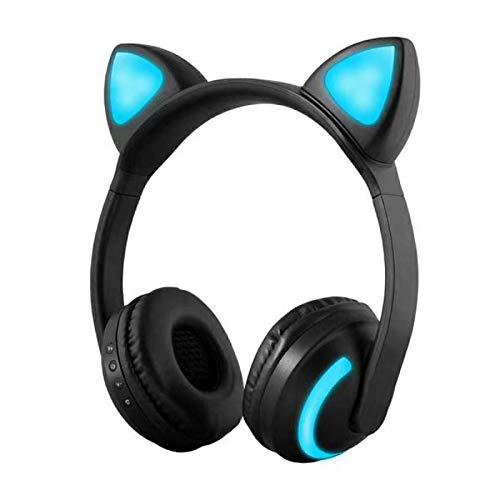 Audífonos inalámbricos Bluetooth con orejas de gato intermitentes y brillantes en la oreja estéreo compatibles con teléfonos inteligentes PC Tablet