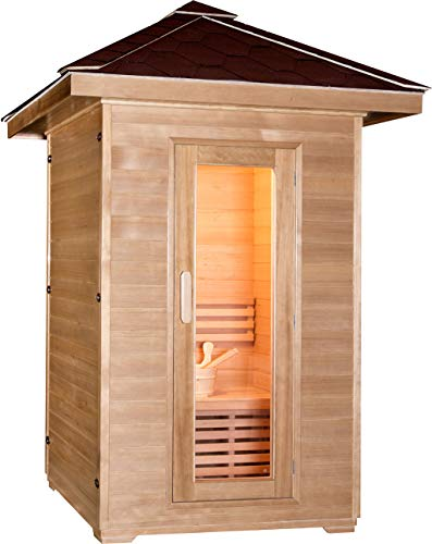 SymbolicSpas Two 2 Person Outdoor Wet/Dry Swedish Steam Traditional Sauna Canadian Hemlock Wood