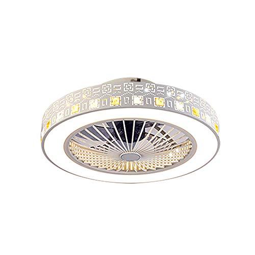 Ventilador de techo con luz, ventilador creativo, invisible con mando a distancia, muy silencioso, ventilador LED de salón, moderno, habitación infantil, ventilador de techo, acrílico, blanco, 59x20cm