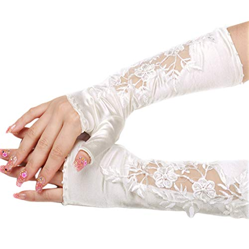 yanni Fingerlose Handschuhe für Damen, aus Satin, handgefertigt, Stickerei, florale Spitze, Kunstperlen, Perlen-Fäustlinge, Hochzeits-Armstulpen mit Daumenloch
