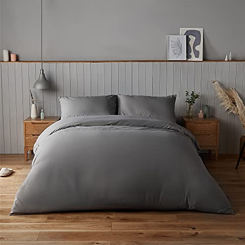 Silentnight Supersoft Collection Charcoal Duvet Cover Set. Supersoft Snuggly Easy Care Duvet Cover Quilt Bedding Set - Double (200cm x 200cm) + 2 Matching Pillowcase
