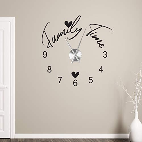 tjapalo® a225 Wanduhr Wohnzimmer Wandtattoo Uhr Sprüche Zitate Wandspruch Family Time Wandaufkleber Wandsticker mit Uhrwerk, Größe: B58 x H58cm (+Uhrwerk silber), Farbe: Schwarz