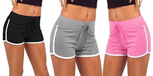 Avaatar Women's Cotton Yoga Drawstring Shorts (sp-03, Multicolor, Medium) Pack...