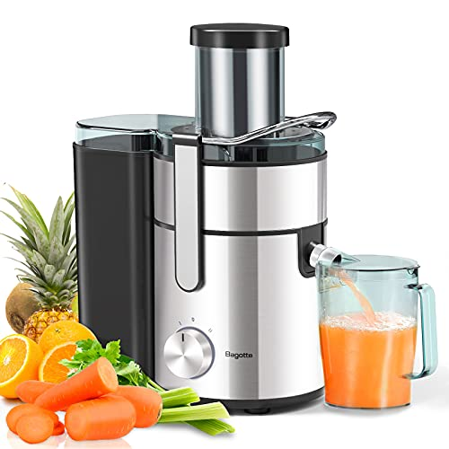 """Juicer, Bagotte Upgrade 1000W Juicer Machines, Easy Clean Juice Extractor 3.3"""" Wide Mouth Centrifugal Juicer for Whole Fruit Vegetable, Juicer Recipe Book & Brush, Anti-drip, Dual-Speed, BPA-Free, Large"""