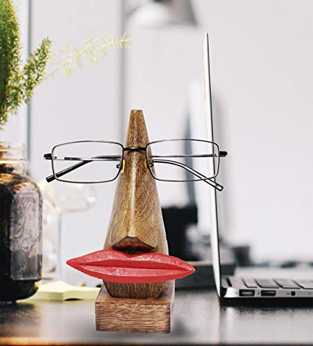 Wooden Handmade Red Lip Shaped Eyeglass Spectacle Holder Display Stand for Girls Women Office Desk Home Decor Gifts (Lip)