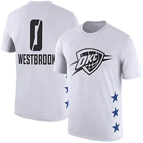 Westbrook Thunder OKC Westbrook Camiseta de Entrenamiento de Manga Corta Camiseta Deportiva de Baloncesto de Manga Corta Hombres