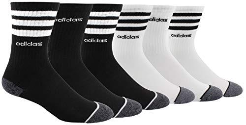 adidas Youth Kids-Boy's/Girl's 3-Stripes Crew Socks (6-Pair), Black/White/Black - Onix Marl White/Black/Onix - Lt On, Large, (Shoe Size 3Y-9)