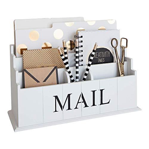 BLU MONACO White Wooden Mail Organizer - 3 Tier White Desk Organizer - Rustic Country Mail Sorter - Kitchen Counter Organizer Mail Holder