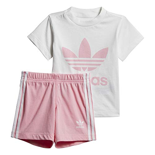 adidas Baby Trefoil Shorts Und T-Shirt Set, White/Light Pink, 74