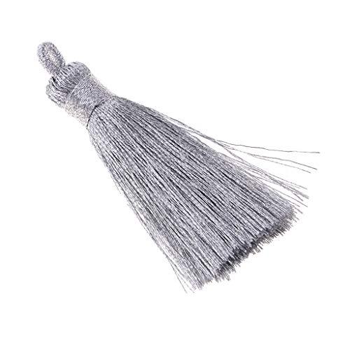 F Fityle Quasten-Anhänger Knoten Seidige handgemachte weiche Troddeln für Halsketten Schmuckherstellung Schlüsselanhänger - Silber klein