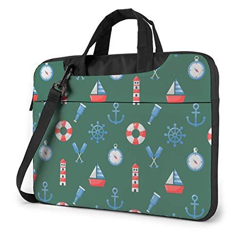 15.6 inch Laptop Shoulder Briefcase Messenger Sailboat Lighthouse Compass Nautical Tablet Bussiness Carrying Handbag Case Sleeve