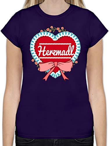Oktoberfest Damen - Herzmadl Lebkuchenherz - L - Lila - L191 - Tailliertes Tshirt für Damen und Frauen T-Shirt