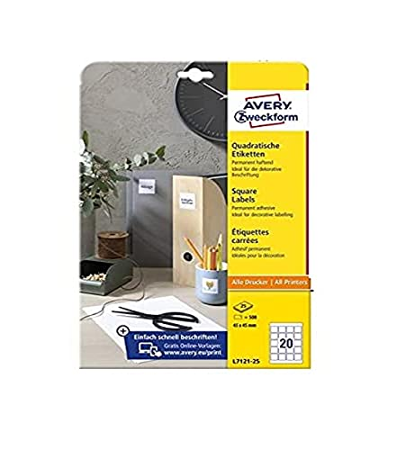 AVERY Zweckform L7121-25 Quadratische Etiketten (500 Klebeetiketten, 45x45mm auf A4, QR Code Aufkleber zum Bedrucken, selbstklebend, permanent haftende QR Code Etiketten) 25 Blatt, weiß