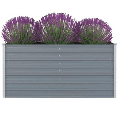 Jardinera rectangular de acero galvanizado, jardinera grande de exterior, gris, 160 x 80 x 77 cm...