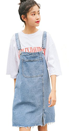 HAOKTY Damen Denim Retro Vintage Jeans Kurze Latz Kleid Overall Trägerrock Jeanskleid mit Trägern Plusgröße Vorhanden XL