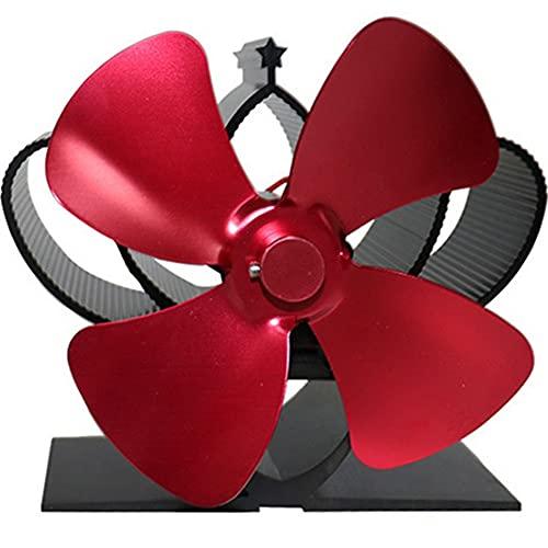 EastMetal Ventilador de Estufa, Ventilador de Estufa de Leña con 4 Aspas, Ventilador de Chimenea Térmica Funcionamiento Silencioso Automático, para Estufas de Leña/Leña/ChimeneaRed