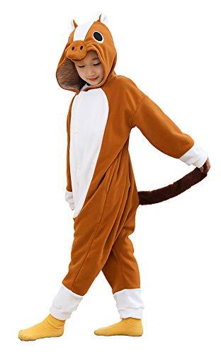 Unisex Kids Fleece Onesie Brown Horse Pajamas Animal Christmas Halloween Cosplay Costume Sleepwear (10-12 Years)