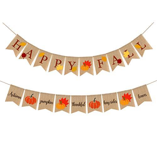 Happy Fall Banner, Happy Thanksgiving Decorations, Rustic Retro Thankful Burlap Garland Fireplace Decor