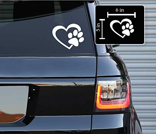 Printbeat Heart with Dog PAW Puppy Love Footprint Vinyl Decals Bumper Stickers for Cars, Van, Trucks, Laptop (White, 6' x 5')