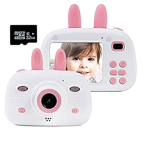 Gmlmes Kids Video Camera Digital Rabbit Camera for Girls Boys Toddlers 3-10 Year Old Birthday Gifts 1080P HD Shockproof Rechargeable Video Recorder Player with 2.4 Inch IPS Screen (Pink)