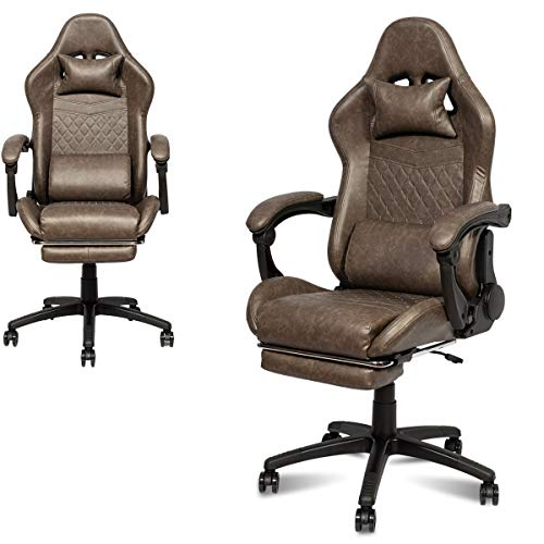 Gaming Chair Racing Chair Computer Game Chair Ergonomic Backrest and Seat Height PU Leather High Back Adjustment Recliner Rocking Chair with Headrest Loin Support Pillow (Brown)