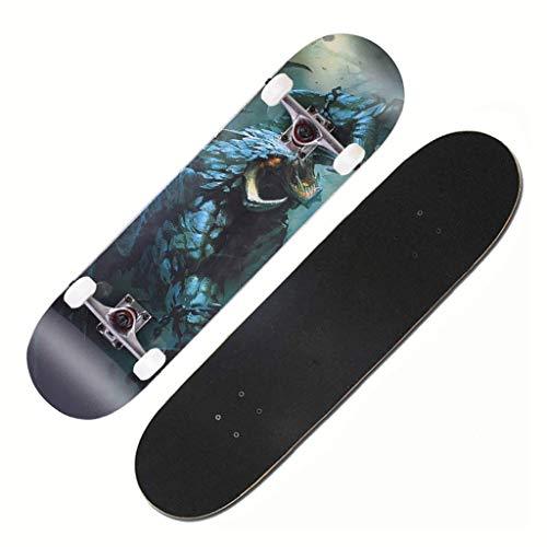 lei shop Skateboard Komplettboard ,Deluxe Cruiser Longboard mit ABEC-7 Kugellager 7-lagigem Ahornholz für Kinder Jungendliche und Erwachsene Skate