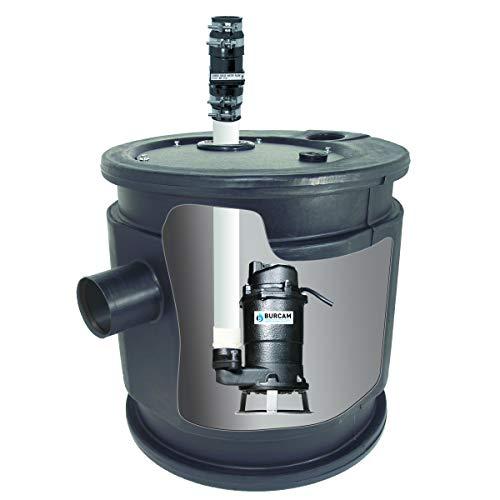 BURCAM 401446P 3/4 HP Complete Sewage Grinder Pump System, Black