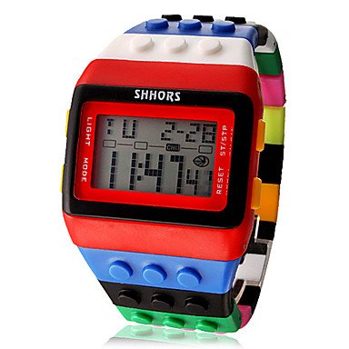 Fenkoo Neutral Arco Iris Reloj de Pulsera Digital, Rojo