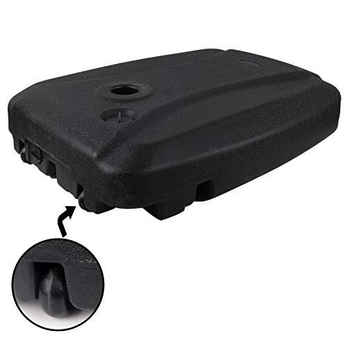 Woplagyreat Base de soporte para sombrilla de patio con ruedas, 150 libras de peso pesado de plástico negro lleno de agua para paraguas voladizo grande compensado