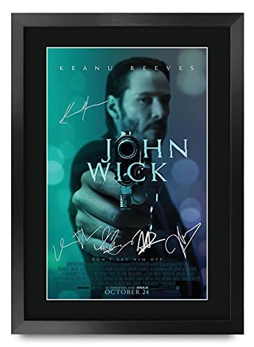 HWC Trading Poster imprimé John Wick The Cast Keanu Reeves Ian McShane avec autographe pour Les Fans de cinéma – A3 encadré