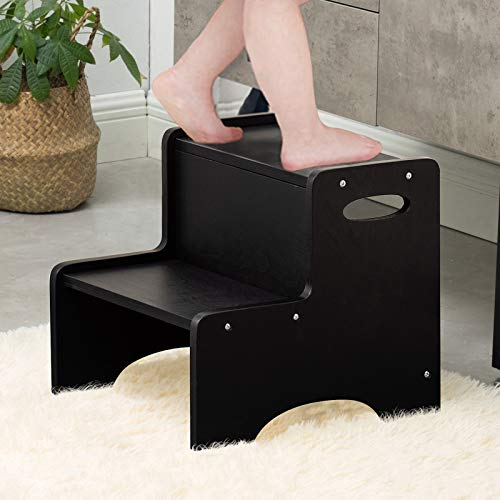 WOOD CITY Step Stool for Kids Wooden Toddler Step Stool with Safety NonSlip Mats and Handles 2 Step Stool for Kitchen Bathroom Sink amp Potty Training  Black