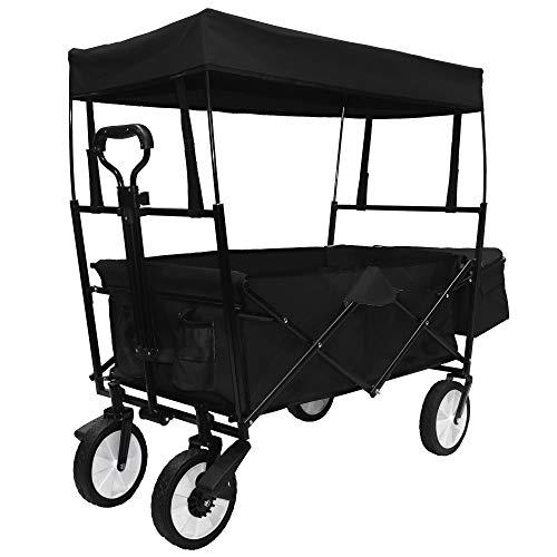 Bollerwagen faltbar mit Dach / Bremsen / Teleskopgriff | Handwagen Gerätewagen | inkl. Getränketaschen + Außentasche | klappbar | 360° Vollgummi-Reifen | bis 100 kg Tragkraft | Schwarz