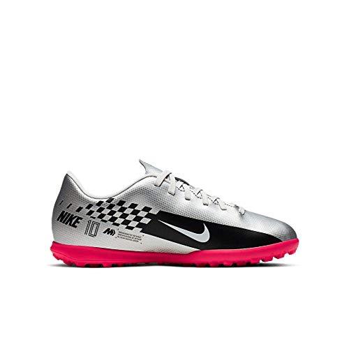 Nike Nike Jr. Mercurial Vapor 13 Club Neymar Jr. Tf, Unisex Kid's Football Boots, Multicolour (Chrome/Black/Red Orbit/Platinum Tint 6), 4 UK (36.5 EU)