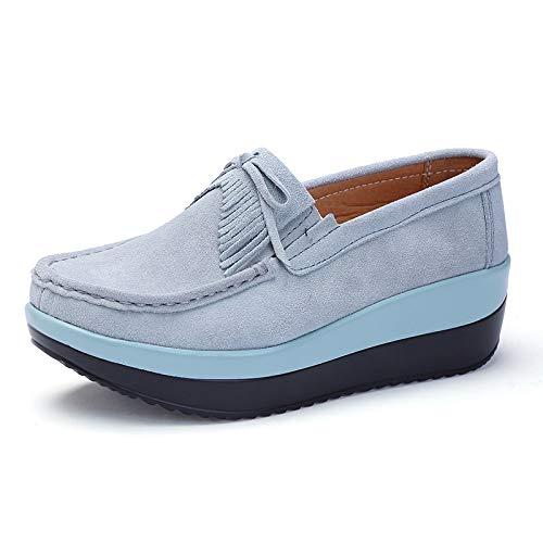 Zapatillas De Estudiante De Primavera Zapatos De Mujer Meciéndose Zapatos De Cuero Slope Tacone Casual Zapatos Individuales Para Mujer 35 Gris su-gris